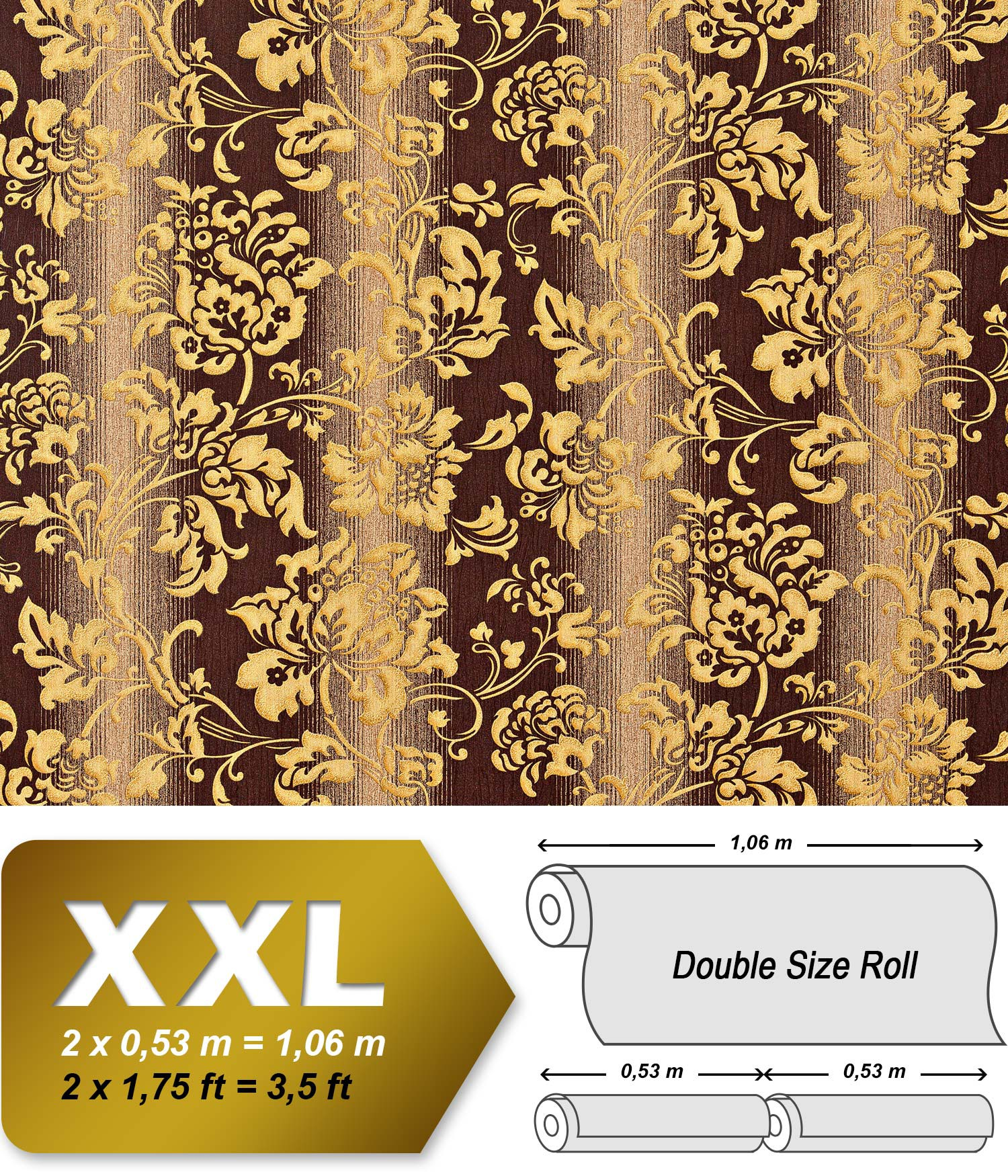 papier peint fleurs xxl de luxe intiss edem 921 36 dessin baroque floral de haute qualit. Black Bedroom Furniture Sets. Home Design Ideas
