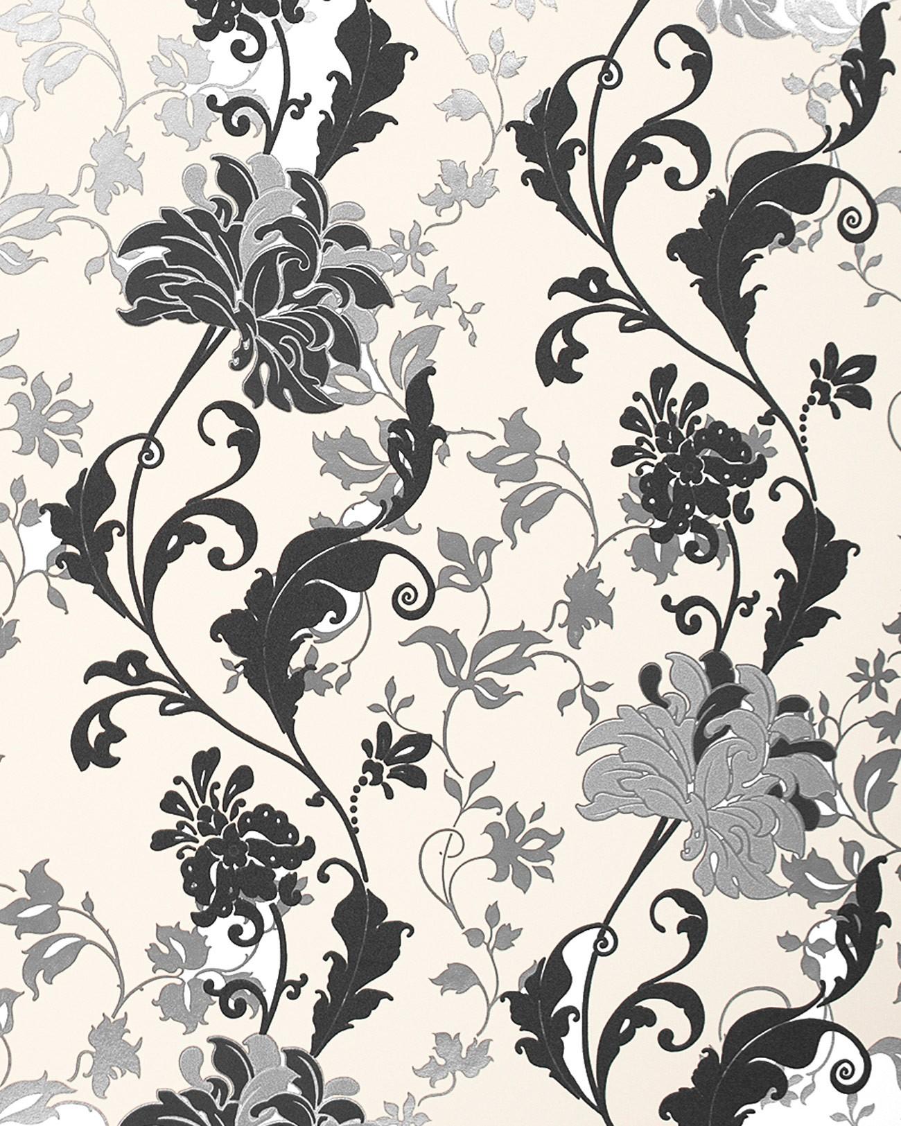 Papier Peint Floral Edem 833 20 Dessin Pr 233 Cieux Fleurs Et Feuilles Noir Blanc Argent Cr 232 Me 70 Cm