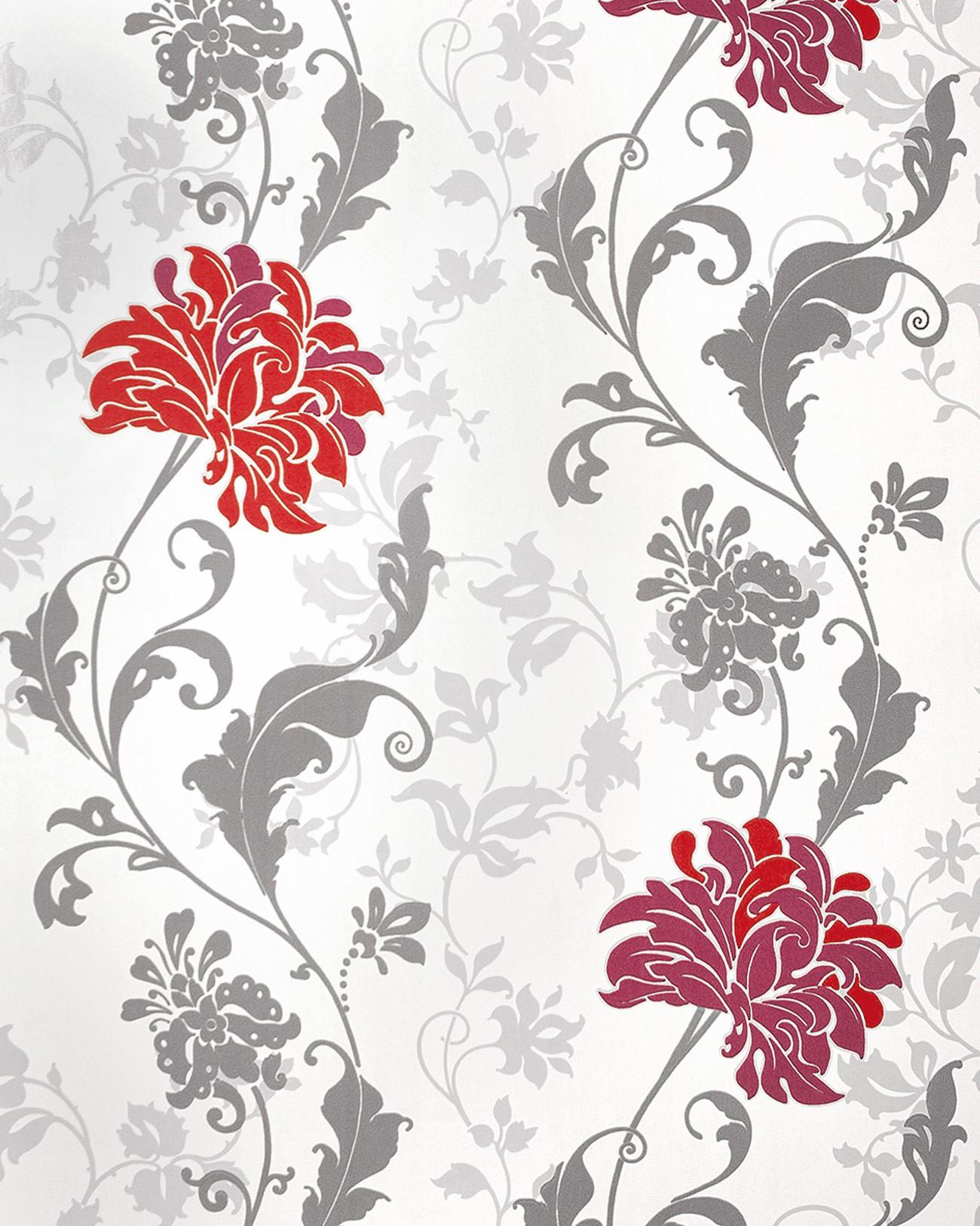 Papier peint floral edem 833 25 dessin pr cieux fleurs et for Papel pintado rojo y blanco