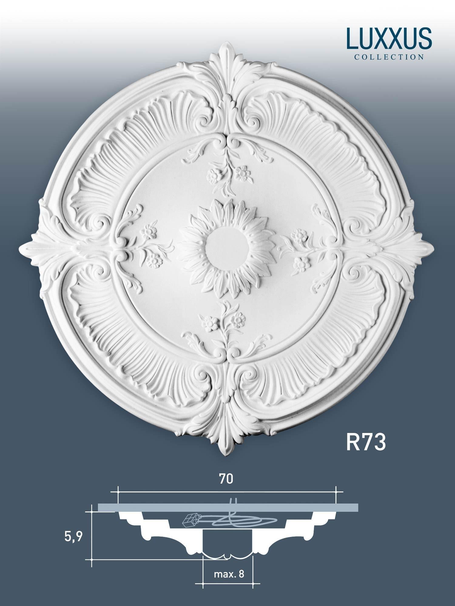 rosace d coration de plafond el ment de stuc orac decor r73 luxxus el ment d coratif blanc 70. Black Bedroom Furniture Sets. Home Design Ideas