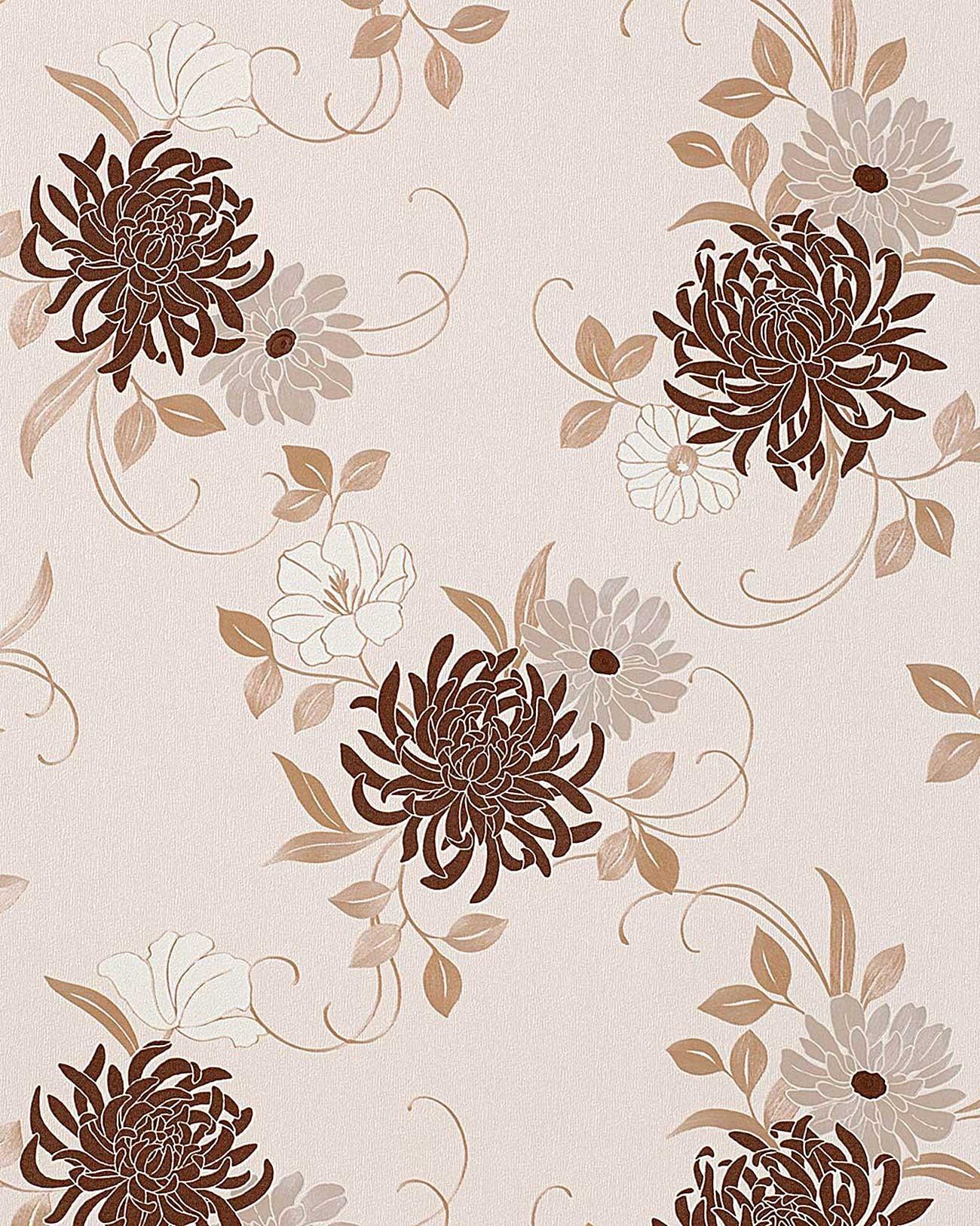 Papier peint deluxe fleurs edem 824 23 beige brun cr me - Sous couche papier peint ...