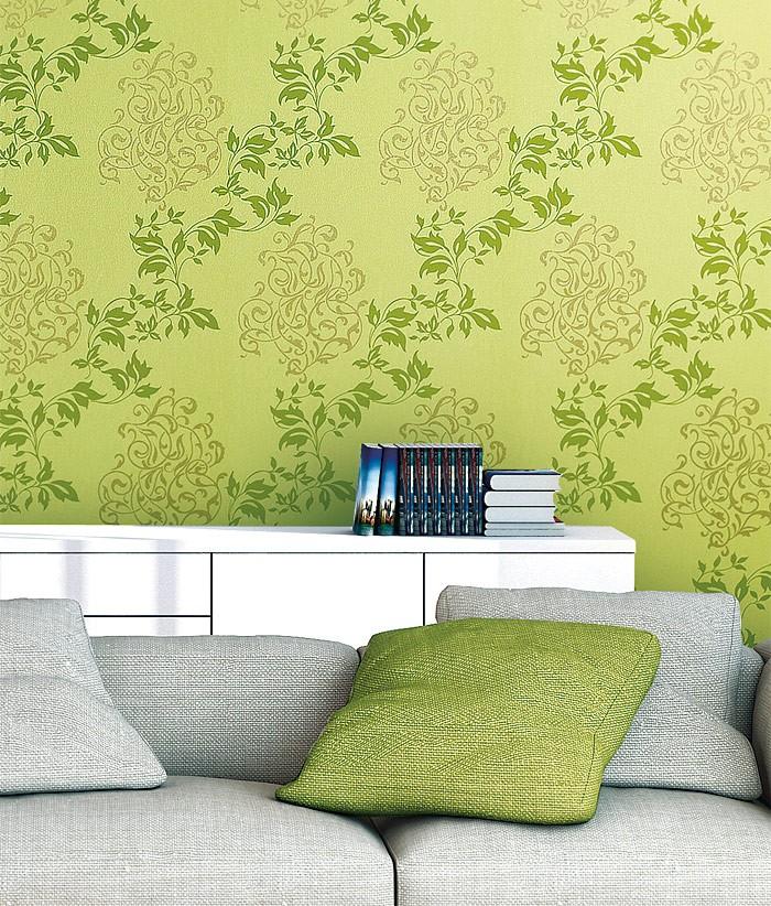 Papier peint intiss en relief style n o baroque edem 946 for Papier peint vert olive
