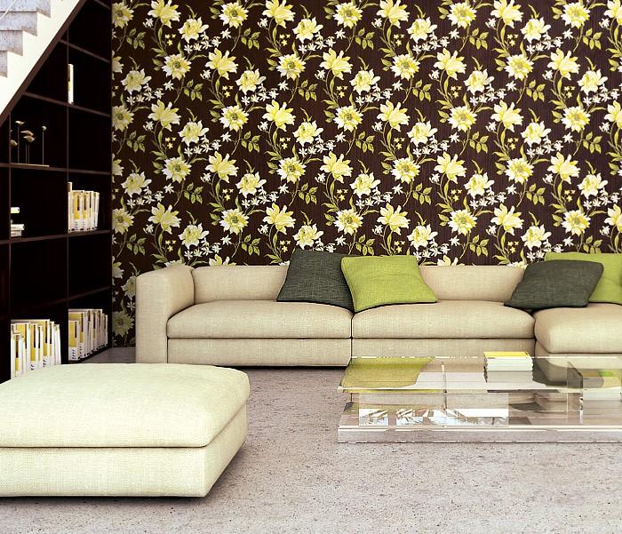 Papier peint intiss de luxe motif floral en relief edem 900 18 aspect tissu vert clair lila - Papier peint de luxe ...