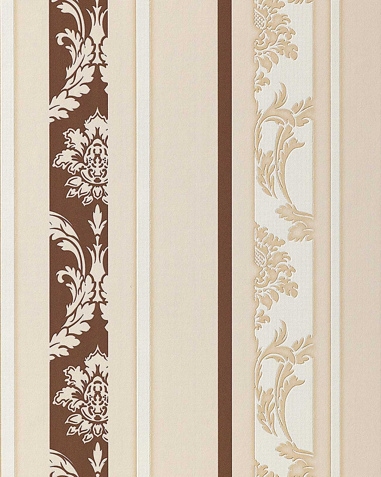Papier Peint N O Baroque Edem 053 23 Design Ornement Ray Flockage Brun Marron Blanc Beige Clair