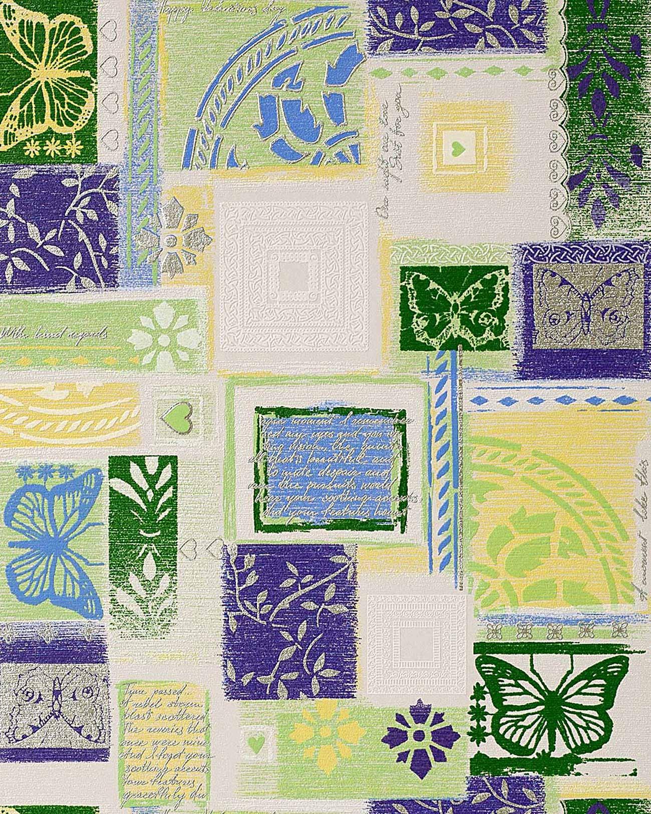 papier peint design r tro style edem 071 25 scrapbooking blanc vert violet argent 5 33 m2. Black Bedroom Furniture Sets. Home Design Ideas