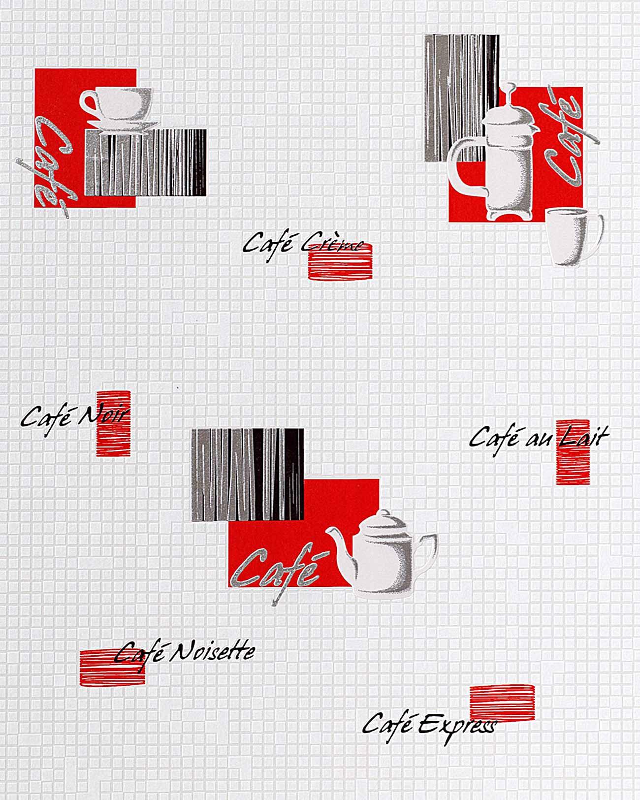 EDEM 062 24 Papier peint motifs caf? bar dessin mosa?que blanc