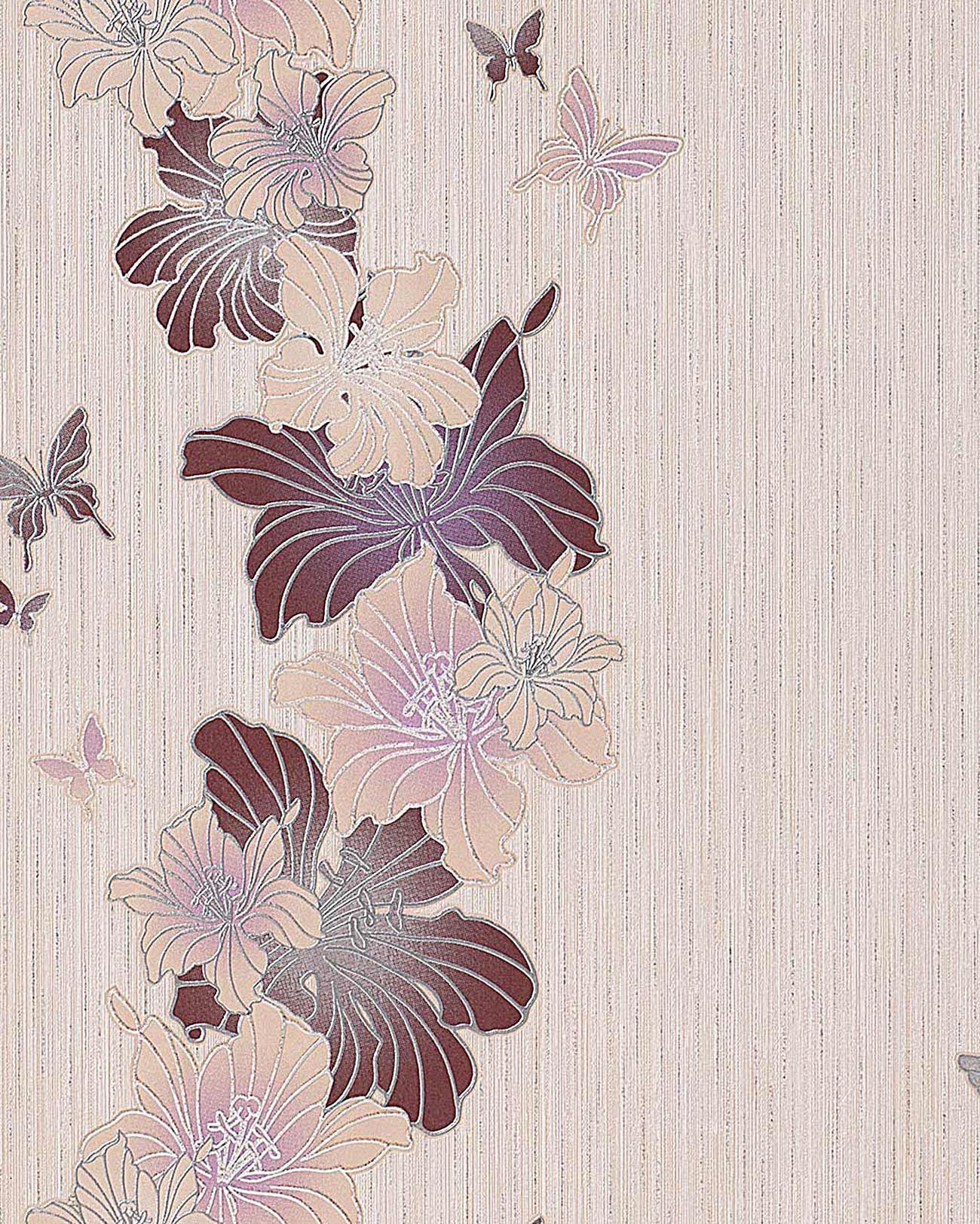 Papier peint design motif floral fleurs et papillons edem for Papier peint taupe clair
