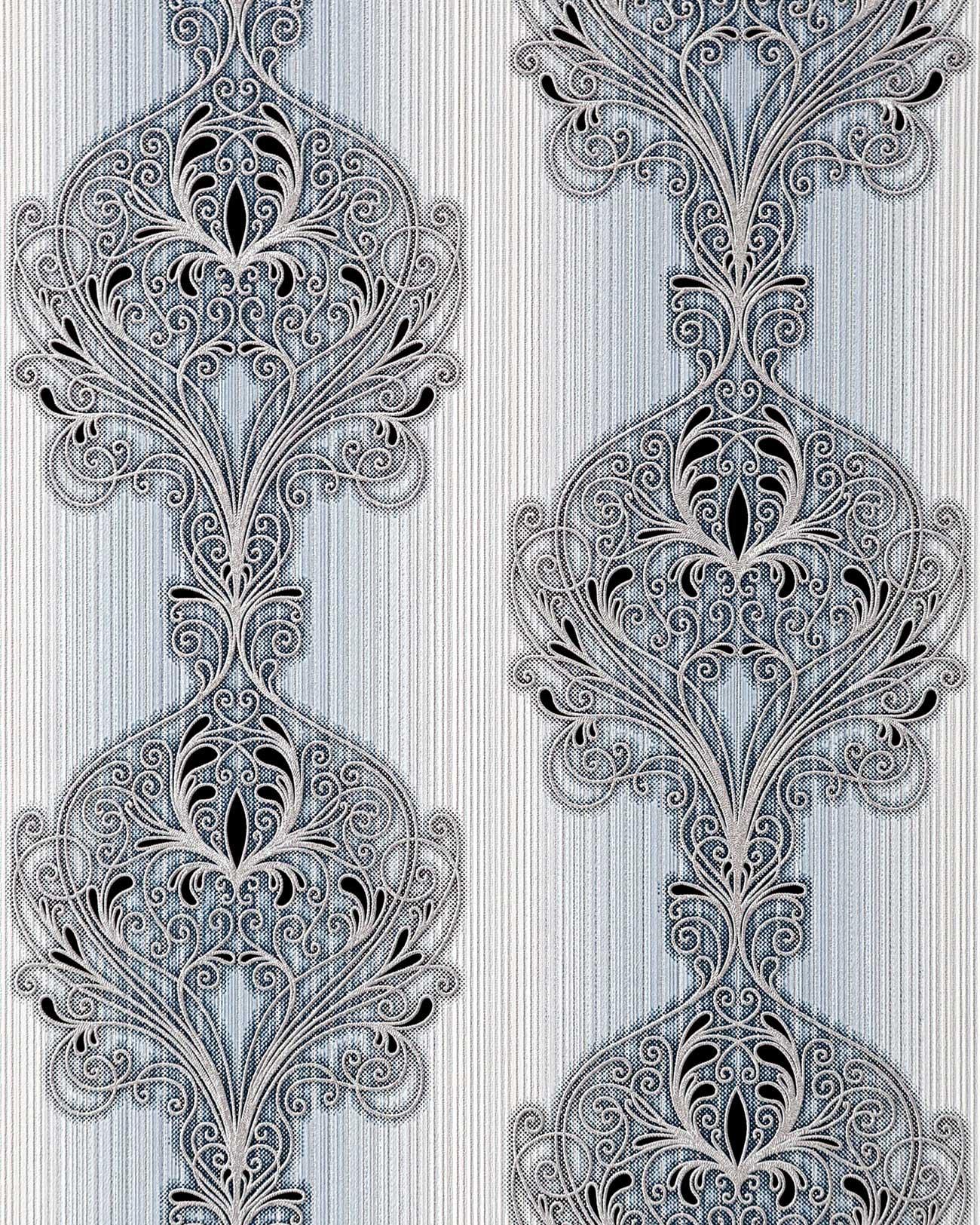 Papier peint baroque damass ornement moderne et orn edem 096 26 bleu clair gris blanc argent - Papier peint noir et argent ...