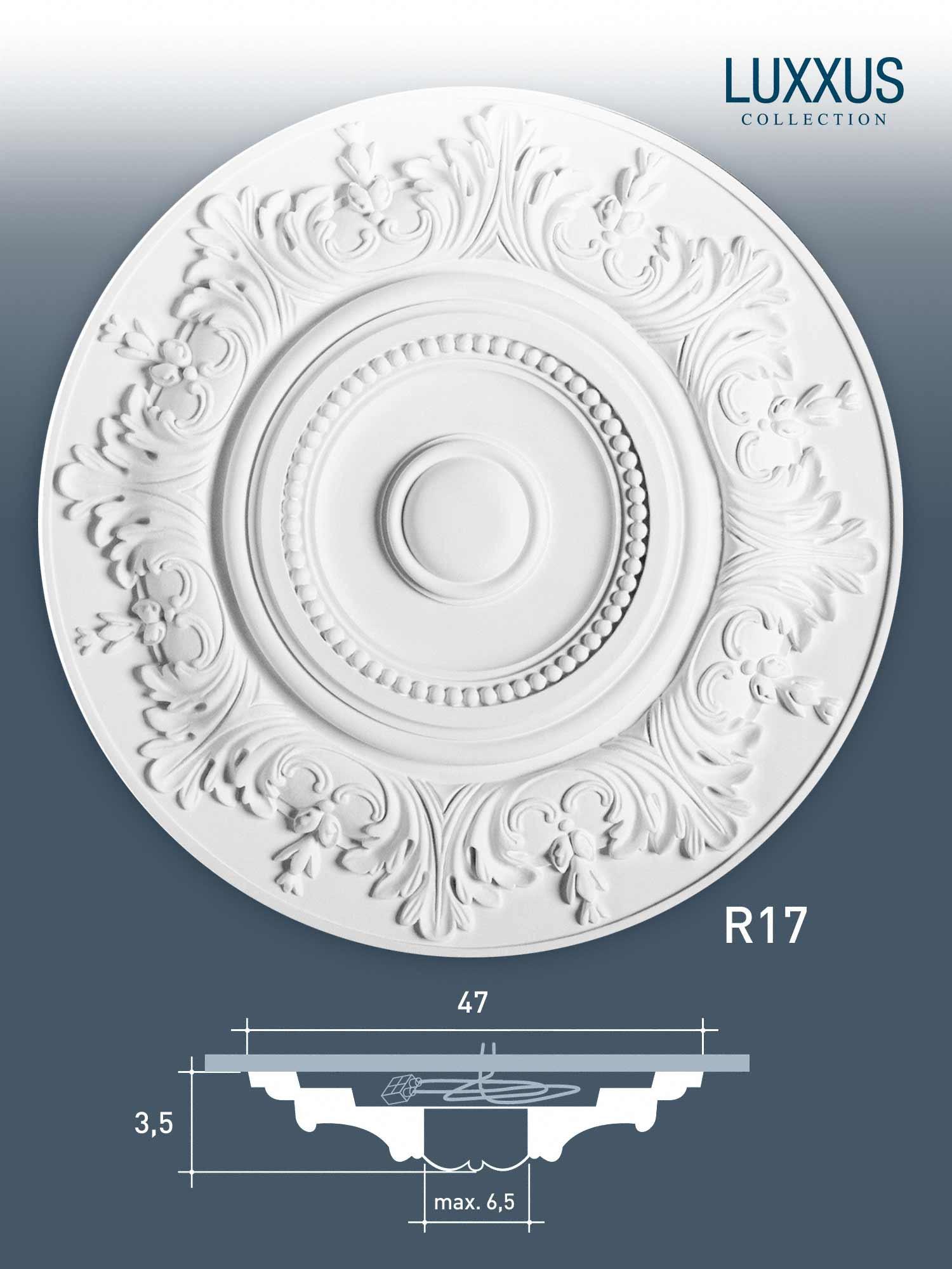 rosace d coration de plafond el ment de stuc orac decor r17 luxxus el ment d coratif motif. Black Bedroom Furniture Sets. Home Design Ideas